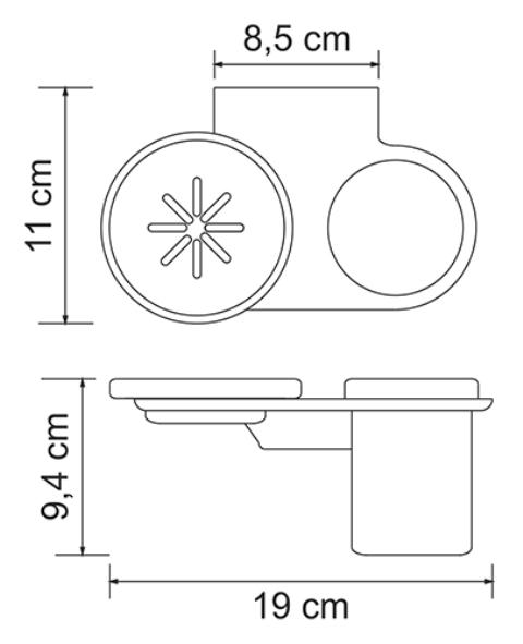 Держатель стакана и мыльницы WasserKRAFT Kammel K-8326 металл, хромоникелевое покрытие, матовое стекло, фото