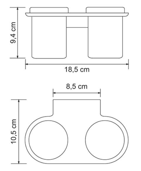 Подстаканник двойной стеклянный WasserKRAFT Kammel K-8328D металл, хромоникелевое покрытие, матовое стекло, фото