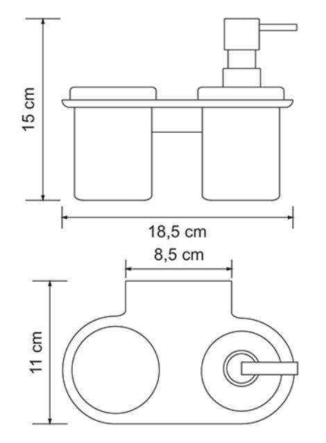 Держатель стакана и дозатора WasserKRAFT Kammel K-8389 металл, хромоникелевое покрытие, матовое стекло, фото