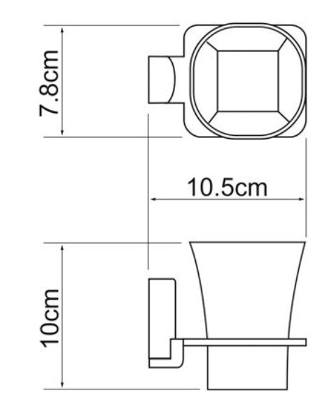 Стакан для зубных щеток WasserKRAFT Leine K-5028 White стеклянный металл, хромоникелевое покрытие, матовое стекло, фото