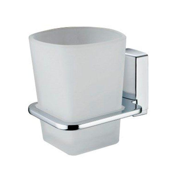 Стакан для зубных щеток WasserKRAFT Leine K-5028 стеклянный металл, хромоникелевое покрытие, матовое стекло, фото