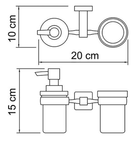 Держатель стакана и дозатора WasserKRAFT Lippe K-6589 металл, хромоникелевое покрытие, матовое стекло, фото