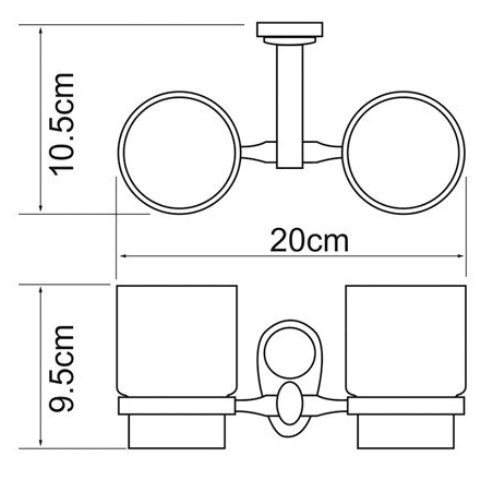 Подстаканник двойной WasserKRAFT Main K-9228DC металл, хромоникелевое покрытие, керамика, фото
