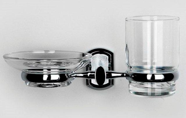 Держатель стакана и мыльницы WasserKRAFT Oder K-3026 металл, хромоникелевое покрытие, прозрачное стекло, фото