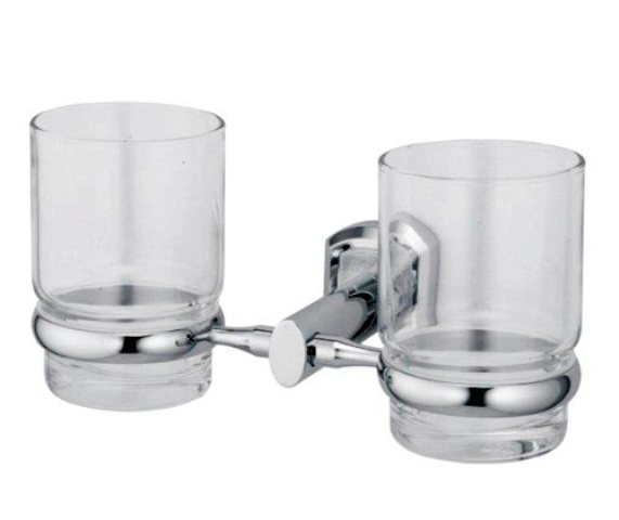 Подстаканник двойной стеклянный WasserKRAFT Oder K-3028D металл, хромоникелевое покрытие, прозрачное стекло, фото