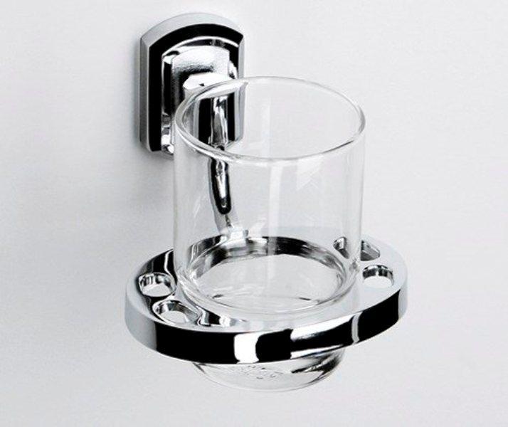 Подстаканник WasserKRAFT Oder K-3028 стеклянный металл, хромоникелевое покрытие, прозрачное стекло, фото