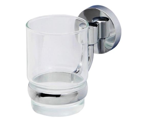Подстаканник стеклянный WasserKRAFT Rhein K-6228 металл, хромоникелевое покрытие, прозрачное стекло, фото