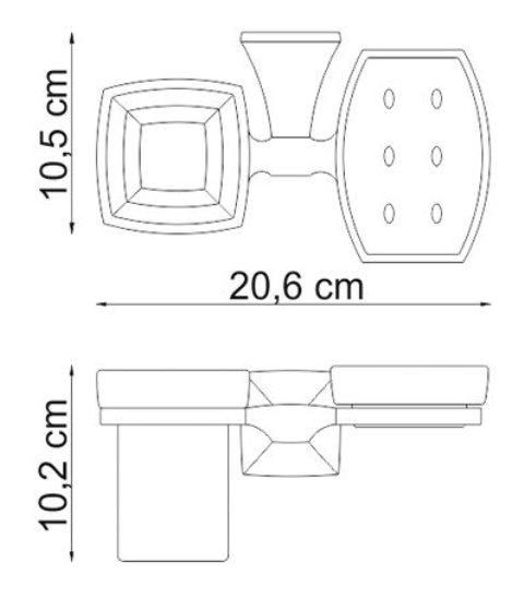 Держатель стакана и мыльницы WasserKRAFT Wern K-2526 металл, хромоникелевое покрытие, матовое стекло, фото