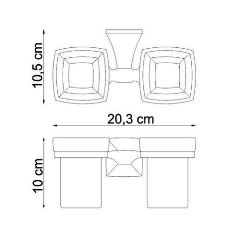 Подстаканник двойной стеклянный WasserKRAFT Wern K-2528D металл, хромоникелевое покрытие, матовое стекло, фото