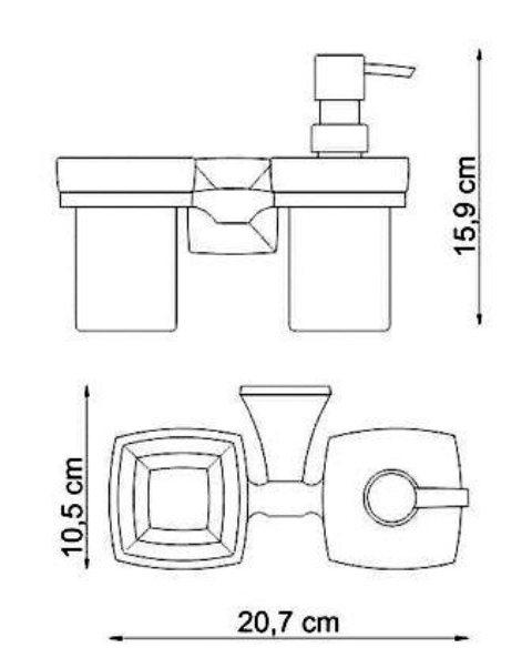 Держатель стакана и дозатора WasserKRAFT Wern K-2589 металл, хромоникелевое покрытие, матовое стекло, фото