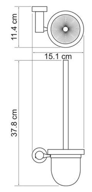 Щетка для унитаза WasserKRAFT Donau K-9427 металл, хромоникелевое покрытие, матовое стекло, фото