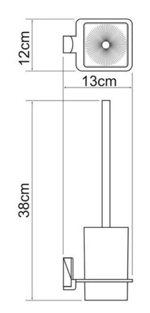 Щетка для унитаза WasserKRAFT Exter K-5227 подвесная металл, матовое стекло, покрытие