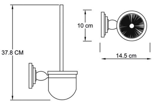 Щетка для унитаза WasserKRAFT Isar K-7327 подвесная металл, матовое стекло, покрытие