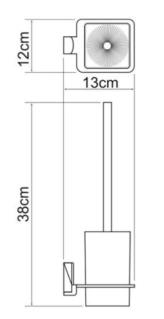 Щетка для унитаза WasserKRAFT Leine K-5027 подвесная металл, хромоникелевое покрытие, матовое стекло, фото