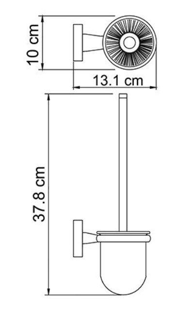 Щетка для унитаза WasserKRAFT Lippe K-6527 подвесная металл, хромоникелевое покрытие, матовое стекло, фото