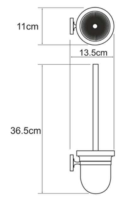 Щетка для унитаза WasserKRAFT Rhein K-6227 металл, хромоникелевое покрытие, матовое стекло, фото