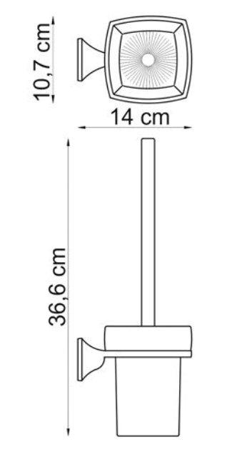 Щетка для унитаза WasserKRAFT Wern K-2527 подвесная металл, хромоникелевое покрытие, матовое стекло, фото