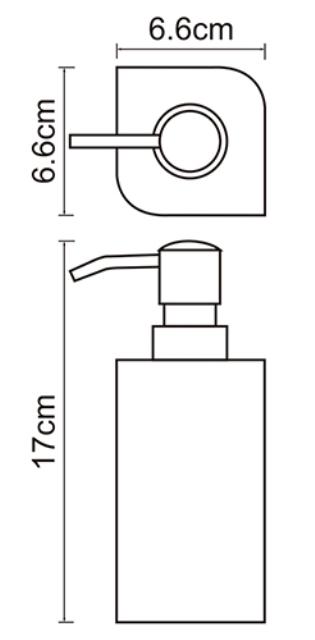 Дозатор для жидкого мыла WasserKRAFT Elba K-2799, 290 ml металл, хромоникелевое покрытие, полирезин, фото