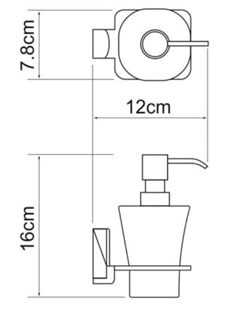 Дозатор для жидкого мыла WasserKRAFT Exter K-5299 стеклянный, 300 ml металл, матовое стекло, покрытие