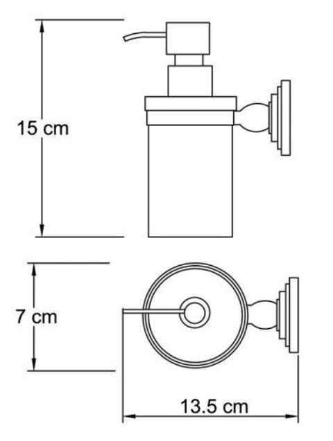 Дозатор для жидкого мыла WasserKRAFT Isar K-7399, 150 ml металл, матовое стекло, покрытие