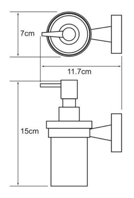 Дозатор для жидкого мыла WasserKRAFT Isen K-4099 стеклянный, 170 ml металл, хромоникелевое покрытие, матовое стекло, фото