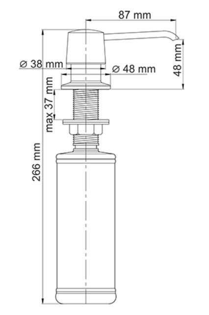 Встраиваемый дозатор для мыла WasserKRAFT K-1099, 320 ml латунь, ABS - пластик, фото