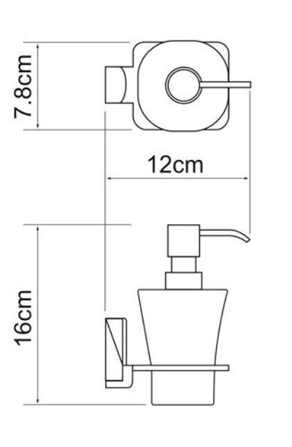 Дозатор для жидкого мыла WasserKRAFT Leine K-5099 стеклянный, 300 ml металл, хромоникелевое покрытие, матовое стекло, фото