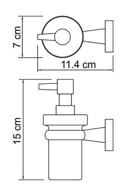 Дозатор для жидкого мыла WasserKRAFT Lippe K-6599 стеклянный, 150 ml металл, хромоникелевое покрытие, матовое стекло, фото