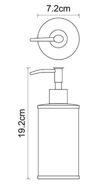 Дозатор для жидкого мыла WasserKRAFT Rossel K-5799, 350 ml металл, хромоникелевое покрытие, фарфор, фото