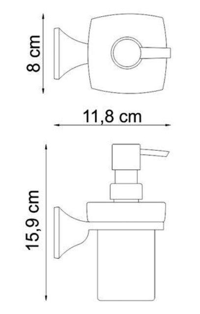 Дозатор для жидкого мыла WasserKRAFT Wern K-2599 стеклянный, 230 ml металл, хромоникелевое покрытие, матовое стекло, фото