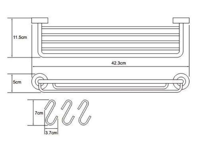 Полка-корзина с крючками WasserKRAFT Donau K-9415 металл, хромоникелевое покрытие, фото