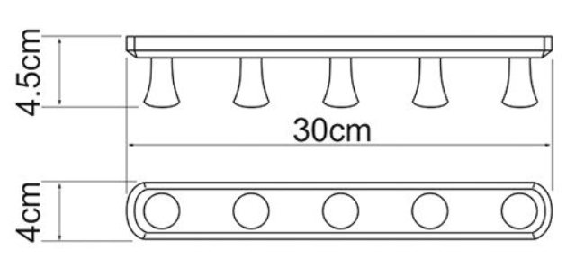 Кронштейн настенный WasserKRAFT K-1075 5 крючков металл, хромоникелевое покрытие, фото