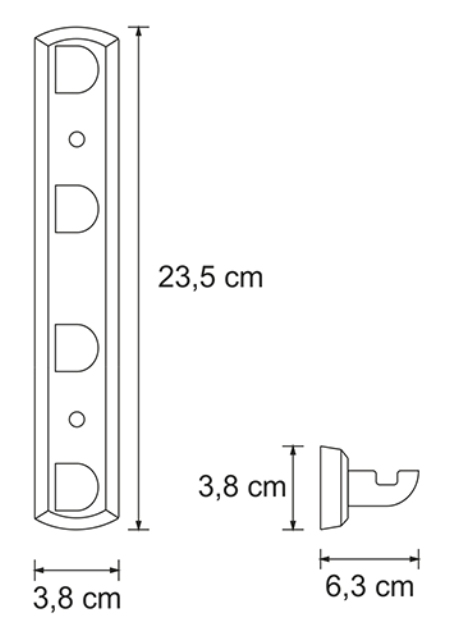 Кронштейн настенный WasserKRAFT Kammel K-8374 White, 4 крючка металл, белая порошковая краска, фото