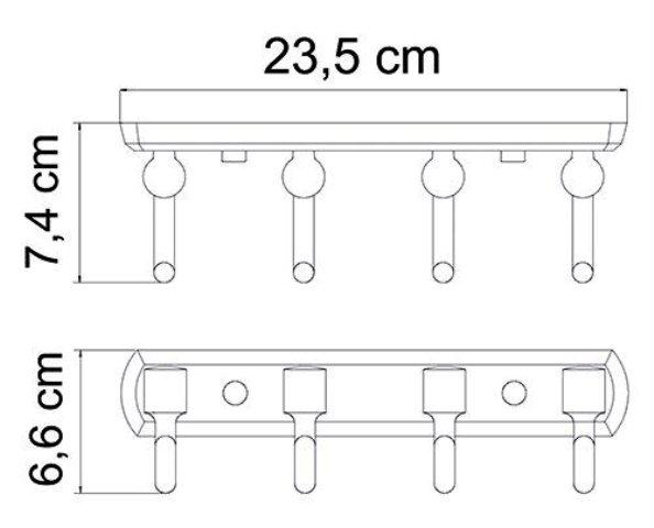 Кронштейн настенный WasserKRAFT Oder K-3074, 4 крючка металл, хромоникелевое покрытие, фото