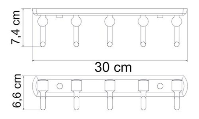 Кронштейн настенный WasserKRAFT Oder K-3075, 5 крючков металл, хромоникелевое покрытие, фото