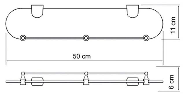Полка WasserKRAFT Berkel K-6844 (К-6824) стеклянная металл, хромоникелевое покрытие, закаленное матовое стекло, фото