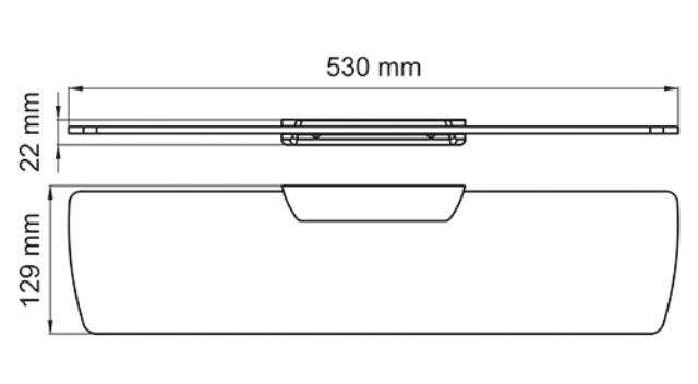 Полка WasserKRAFT Elbe K-7224 стеклянная металл, закаленное матовое стекло, PVD покрытие, фото