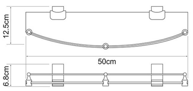 Полка WasserKRAFT Exter K-5244 (К-5224) стеклянная металл, закаленное матовое стекло, покрытие