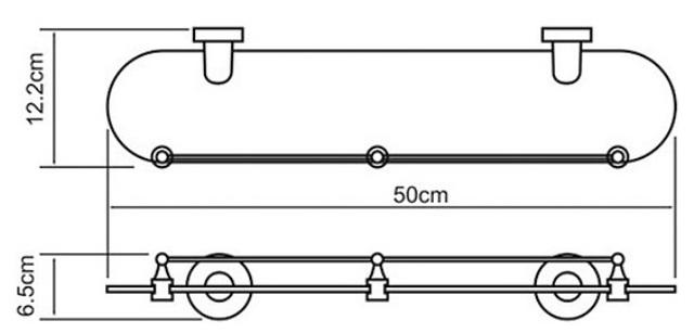 Полка WasserKRAFT Isen K-4044 (К-4024) стеклянная металл, хромоникелевое покрытие, закаленное матовое стекло, фото