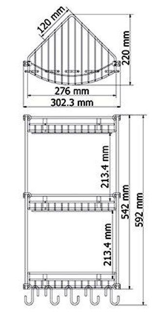 Полка WasserKRAFT K-1233 металлическая тройная, угловая хромоникелевое покрытие, нержавеющая сталь, фото