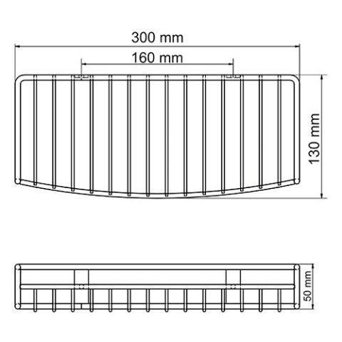 Полка WasserKRAFT K-1311 металлическая прямая нержавеющая сталь AISI 304, покрытие