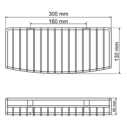Полка WasserKRAFT K-1411 металлическая прямая нержавеющая сталь AISI 304, хромоникелевое покрытие, фото