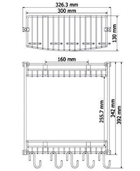 Полка WasserKRAFT K-1422 металлическая двойная, прямая хромоникелевое покрытие, нержавеющая сталь, фото