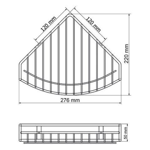 Полка WasserKRAFT K-1711 металлическая угловая нержавеющая сталь AISI 304, покрытие