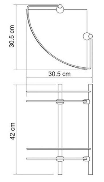Полка WasserKRAFT K-3122 стеклянная двойная угловая металл, хромоникелевое покрытие, закаленное матовое стекло, фото