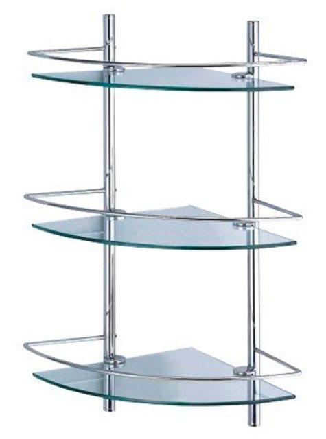 Полка WasserKRAFT K-3133 стеклянная тройная угловая металл, хромоникелевое покрытие, закаленное матовое стекло, фото