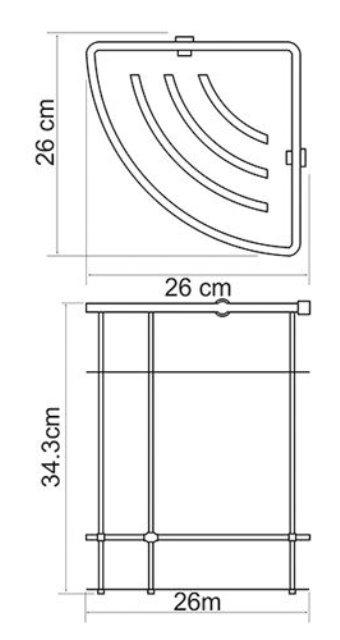 Полка WasserKRAFT K-522 металлическая двойная, угловая металл, хромоникелевое покрытие, фото