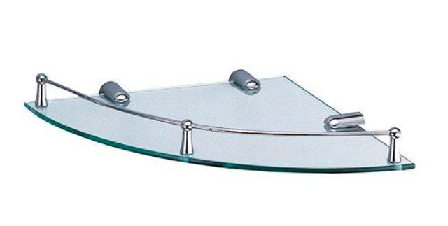Полка WasserKRAFT K-544 стеклянная угловая металл, хромоникелевое покрытие, закаленное стекло, фото