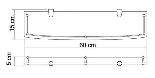Полка WasserKRAFT K-555 стеклянная металл, хромоникелевое покрытие, закаленное стекло, фото