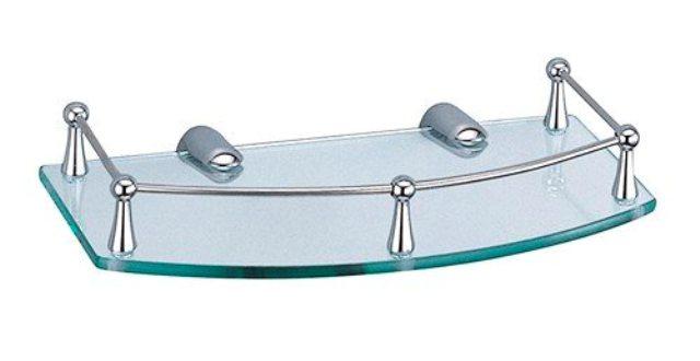 Полка WasserKRAFT K-588  стеклянная металл, хромоникелевое покрытие, закаленное стекло, фото